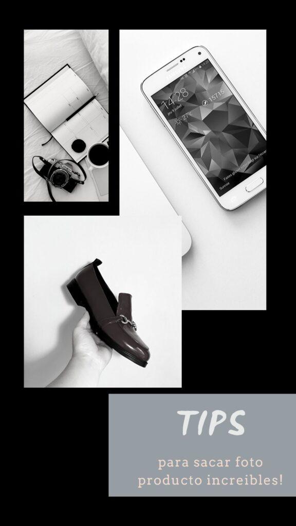 foto portada de curso de tutorial de fotografia producto. ¿Como sacar fotos con fondo blanco para calzado? Muestra un zapato, un telefono movil y el titulo: tips para sacar fotografias de producto como un profesional.